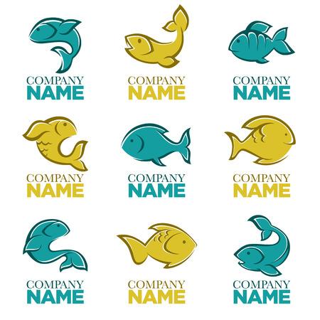 ベクトル魚のロゴ、アイコン、記号、シンボルとエンブレムのセット  イラスト・ベクター素材