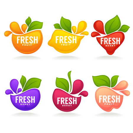 Fresh stylized fruits and berries, logo, labels, stickers and emblems