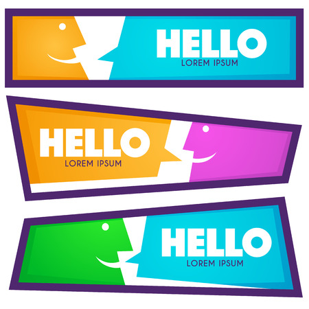 Vector collection of Hello communication horizontal web banners Иллюстрация