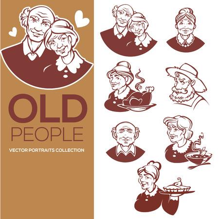 Grote vectorinzameling gelukkige oude mensenportretten voor uw embleem, etiket, en emblemen