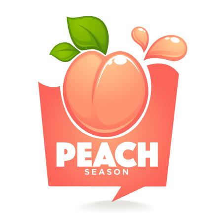 Sweet peach season. Vector label or sticker looks like a speech bubble Illustration