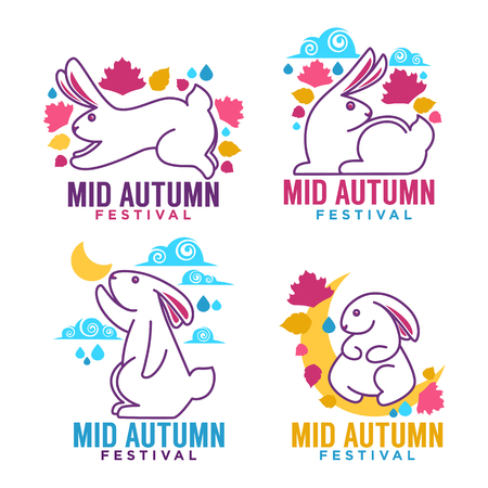 Mid autumn festival, labels, emblems and with images of moon rabbits