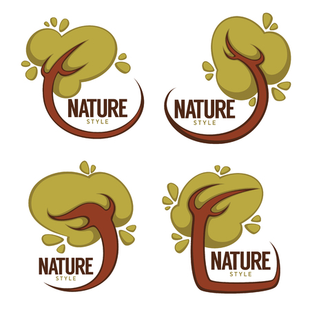 Collection of cartoon tree frames for your eco design