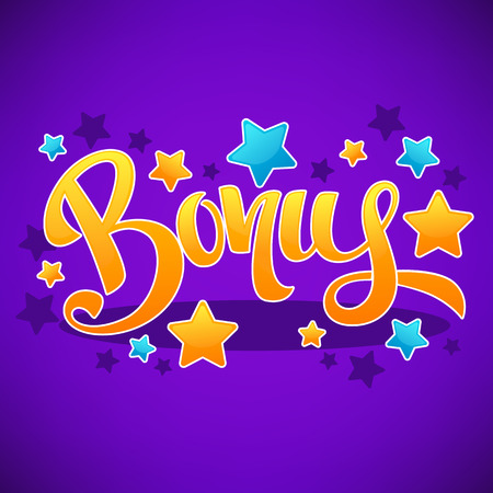 Bonus, Congratulation Bright And Glossy Banner With Handdrawn Lettering Composition