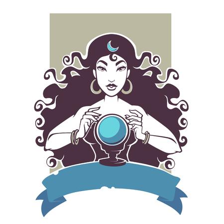 占い師、水晶玉で未来を読む美しいジプシーの少女