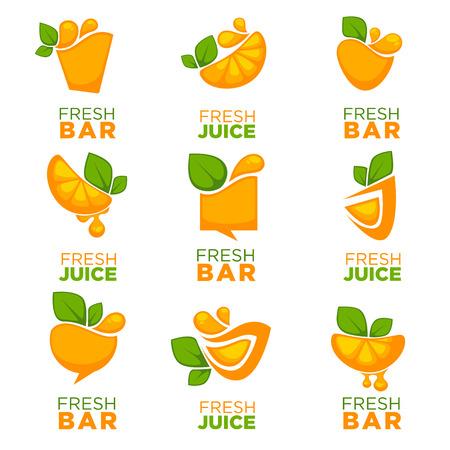 jus de fruits frais orange, vector collection de logo, symboles et emblèmes