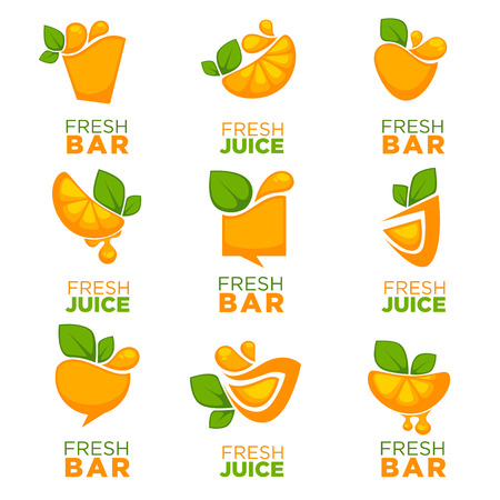 orange fresh juice, vector collection of logo, symbols and emblems Illustration