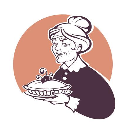 사랑스러운 할머니와 집에서 만든 파이, 로고 또는 레이블에 대 한 벡터 초상화