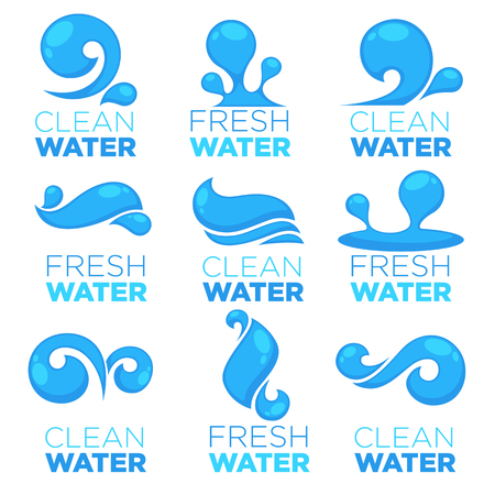 natural water, vector logo, labels and stickers templates with aqua drops