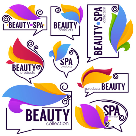 vector collection of doodle flowers emblems frames and logo with beauty and spa products lettering composition Illustration