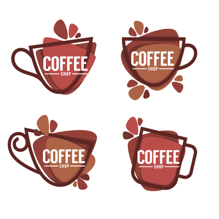 Coffee shop logo. Vector collection of hot and sweet drinks symbols and emblems 일러스트