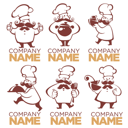 cooking symbols, food and chef silhouettes, vector collection images for your logo, label, emblems