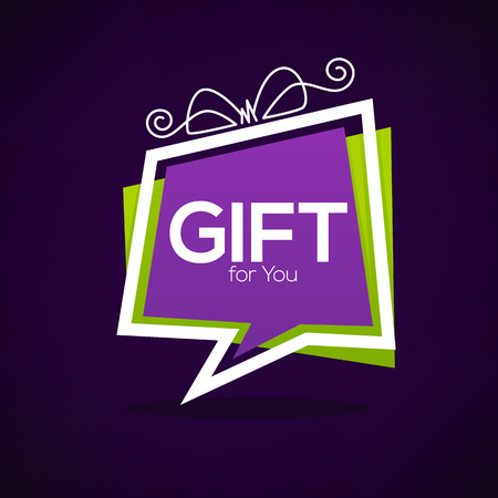 Gift for you, web banner looks like a speech bubble with present box Ilustração