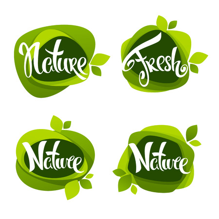 nature lettering, vector collection of leaf labels, stickers and emblems