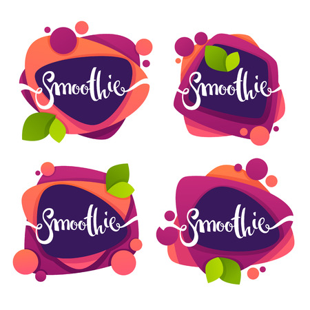 vector collection of bright and shine  stickers, emblems and banners for smoothie and juice Stok Fotoğraf - 86854446