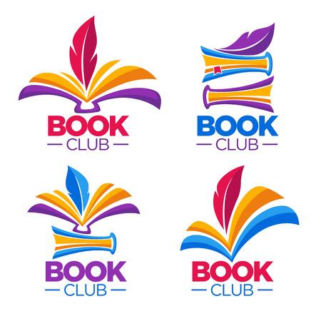 책 클럽, 도서관 또는 상점, 벡터 만화 로고 템플릿