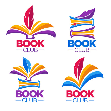 Book club, library or shop, vector cartoon logo template Stok Fotoğraf - 87789995