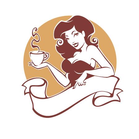 お茶やコーヒーのカップを持つ美しさピンナップ女性、レストラン、カフェや紅茶会社のためのロゴ  イラスト・ベクター素材