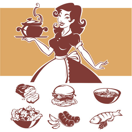 Homemade cooking, vector illustraton of pinup housewife and common menu dishes