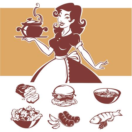 Zelfgemaakt koken, vectorillustraton van pinuphuisvrouw en gemeenschappelijke menugerechten Stock Illustratie