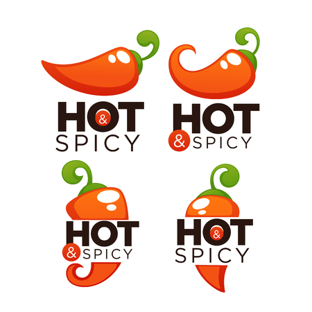 Hot and spicy chili pepper logo, icons and emblems, with lettering composition Illustration