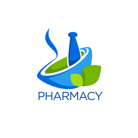 Eco-apotheek, glanzende glans logo sjabloon met afbeeldingen van ponder en groene bladeren