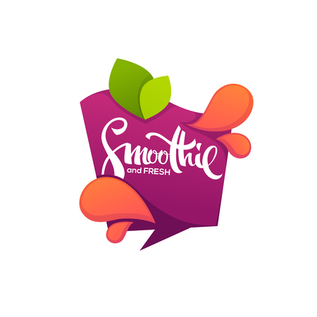 Vector template of bright and shine sticker, emblem and banner for smoothie and juice