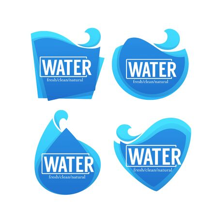 Fresh, clean, natural, vector collection of water stickers, labels, banners and logo for your text