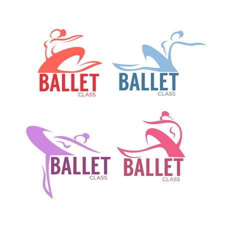 silhouette of beauty ballet dancer, vector logo templates collection