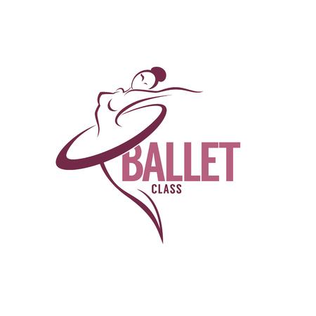 silhouette de la danseuse de ballet de beauté, modèle de logo vectoriel