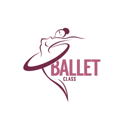 silhouette of beauty ballet dancer, vector logo template 版權商用圖片 - 88178566