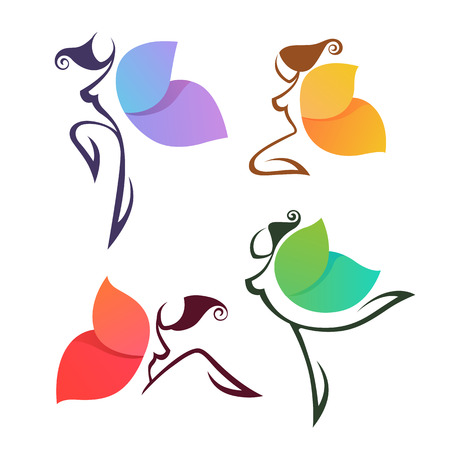 beautiful abstract lgirls, look like a colorful butterfly, for your logo, labels or emblems