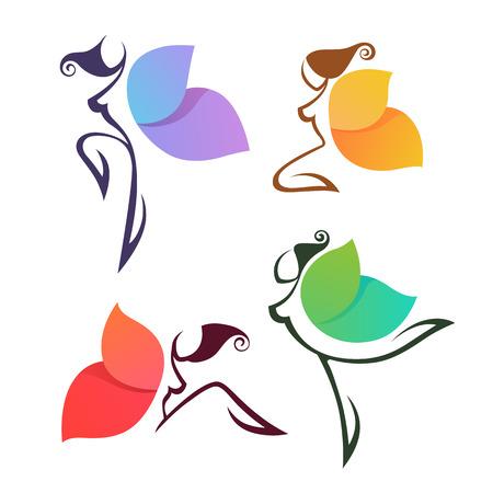 Hermosas lgirls abstractas, parecen una mariposa colorida, para su logotipo, etiquetas o emblemas Foto de archivo - 88178565