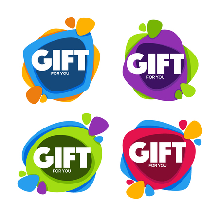 git: Gift For You, vector collection of bright congratulation bubble tags, banners and stickers