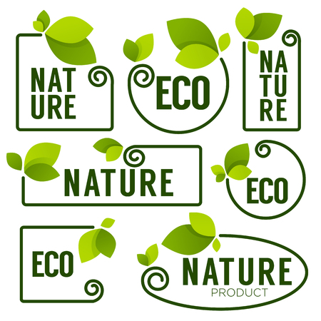 Eco and Nature green fresh leaves emblems, elements,  frames and logo