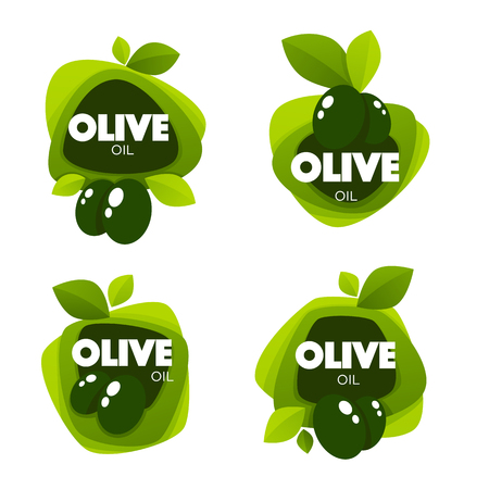 green olive leaves, lettering compositions and oil splashes , vector collection of logo templates, labels, symbols