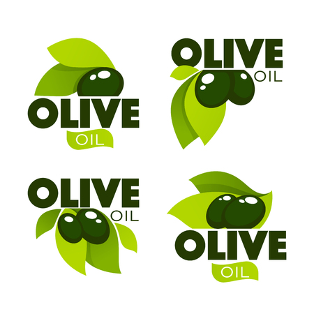 mediterranean diet: green olive leaves, lettering compositions and oil splashes , vector collection of logo templates, labels, symbols