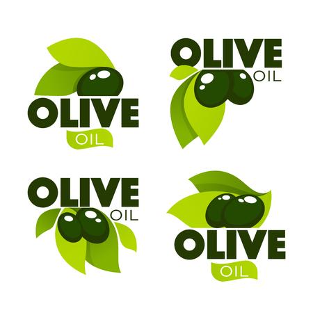 groene olijvenbladeren, beletteringssamenstellingen en oliespatten, vectorverzameling logo-sjablonen, labels, symbolen