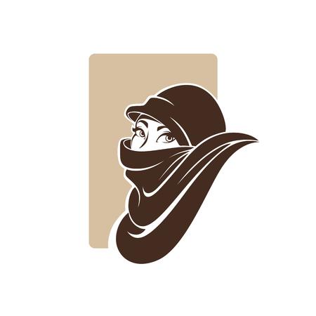 アラビア語女性、ロゴのベクトル イラストの美しい肖像画