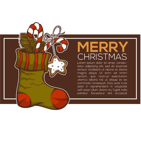 knitting socks full of christmas presents, christmas greeting card Illustration
