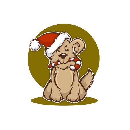 happy Christmas dog, New Year animal symbol Illustration