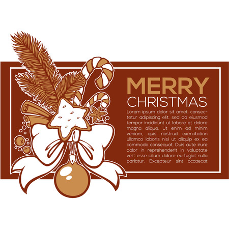 vector banner template for your greeting card with images of Christmas decoration and presents, christmas tree, ribbon, cinnamon, ginger bread and ginger bread Ilustrace