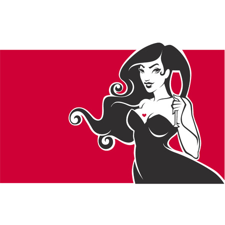 happy hours. vector emblem, flyer, banner with image of  curvy pinup lady with glass of red wine on red background