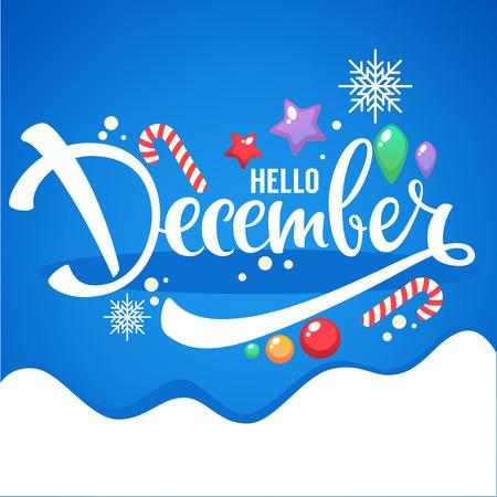 Bonjour décembre, lumineux boules de Noël, sucettes et lettrage composition flyer ou modèle de bannière Banque d'images - 89343142