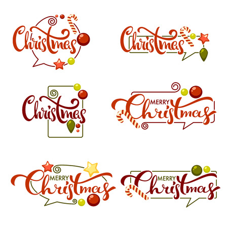 merry christmas bright christmas decoration balls and lettering compositioni doodle style stock vector - Merry And Bright Christmas Decorations