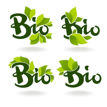 Bio labels with lettering composition and green leaves Фото со стока - 90357167