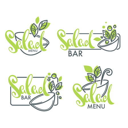 salad bar and menu logo, emblems and symbols, lettering composition with line art image of green leaves Фото со стока - 90357172