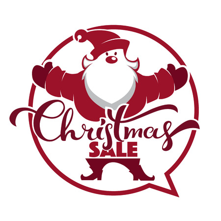 cartoon Santa Claus portrait , speech bubble and lettering composition for your Christmas sale and discount