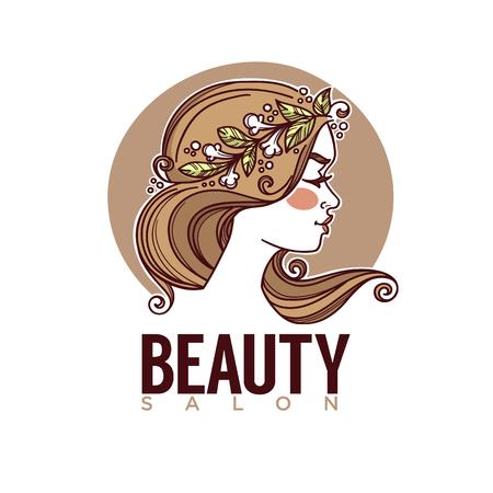 Natur der Schönheit, Vektorskizzenbild des Mädchengesichtes für Ihren Aufkleber, Emblem Standard-Bild - 91183905