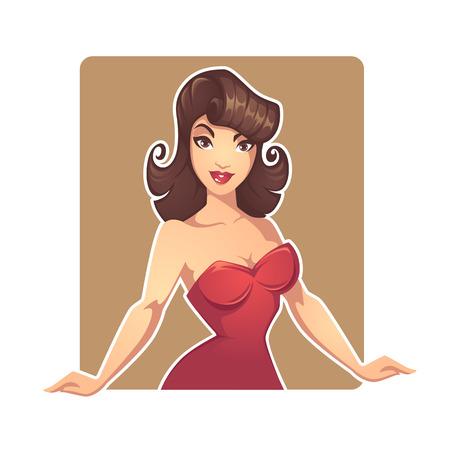 Distribuidor de dama de dibujos animados de dibujos animados hermosa pinup para su proyecto de casino o tienda Foto de archivo - 91183900